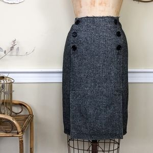 Tory Burch Herringbone Wool Button Pencil Skirt 8